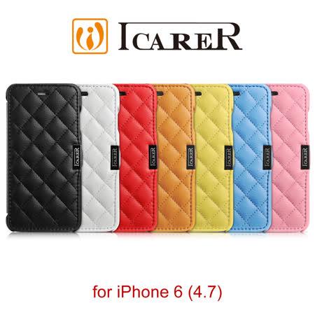 ICARER 超纖格紋 iPhone6 磁扣側掀 手工皮套