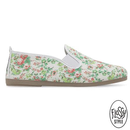 Flossy-(女款)LLEIDA西班牙方便鞋-小碎花/白