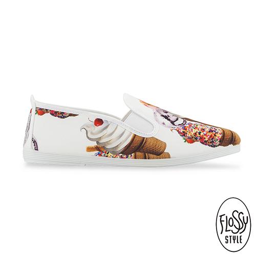 Flossy~^(女款^)SALOU西班牙方便鞋~冰淇淋白