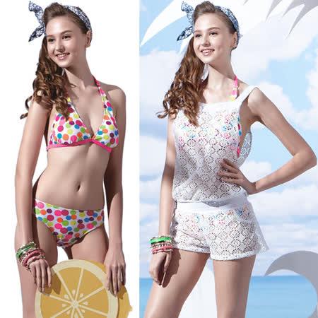 【SAIN SOU】戲水/沙灘/踏浪大女比基尼三件式泳裝附泳帽A93609