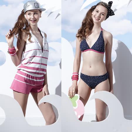 【SAIN SOU】戲水/沙灘/踏浪大女比基尼三件式泳裝附泳帽A93621