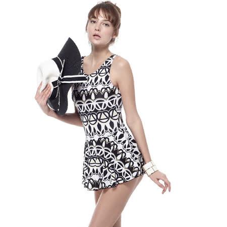 【SAIN SOU】泡湯游泳SPA大女連身裙泳裝附泳帽A98647