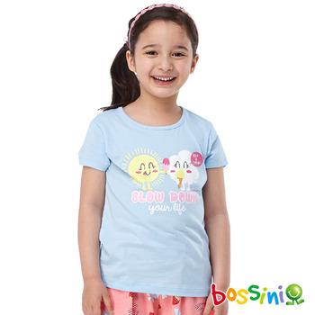 bossini女童-印花短袖T恤26淡藍
