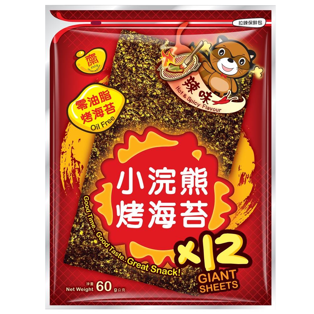 ~小浣熊~零油脂 烤海苔~辣味^(5gx12片^)