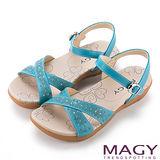 MAGY 夏日時尚 刻花燙鑽交叉牛皮舒適厚底涼鞋-藍色