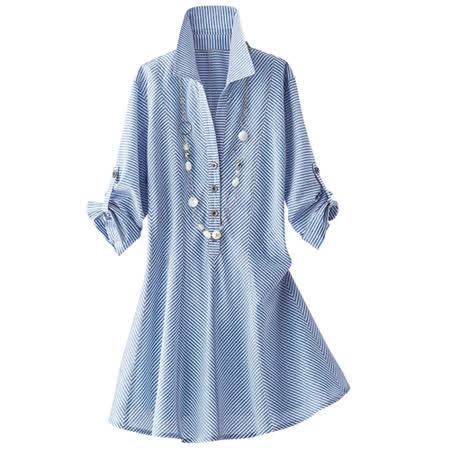日本Portcros 現貨-清爽七分袖純棉條紋長版襯衫(共二色)