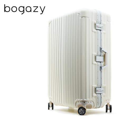 【Bogazy】獵焰風暴 29吋鋁框PC鏡面行李箱(白色)