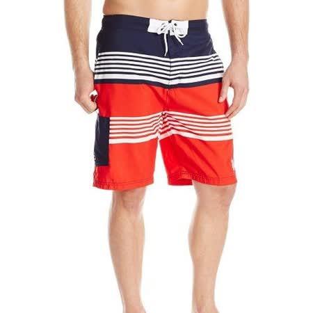 US Polo 2016男時尚美洲條紋短板白紅色短褲【預購】