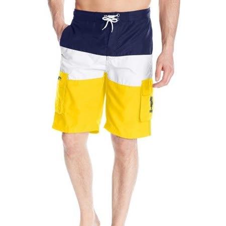 US Polo 2016男時尚寶藍白黃色塊休閒短褲【預購】