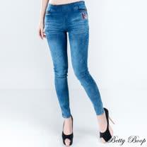 【Betty Boop貝蒂】點點拼布口袋彈性牛仔褲(藍色)