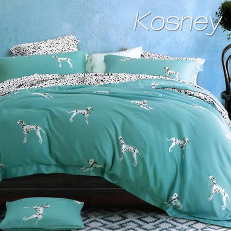 《KOSNEY 大麥丁綠》雙人100%天絲TENCEL六件式床罩組