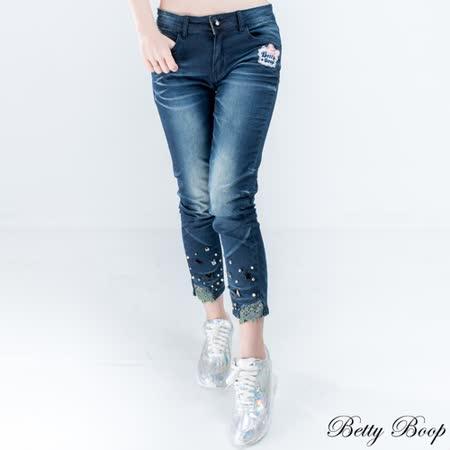 【Betty Boop貝蒂】布蕾絲珠鑽褲管彈性八分牛仔褲(藍色)