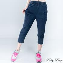 【Betty Boop貝蒂】刷白後造型口袋彈性七分牛仔褲(黑色)
