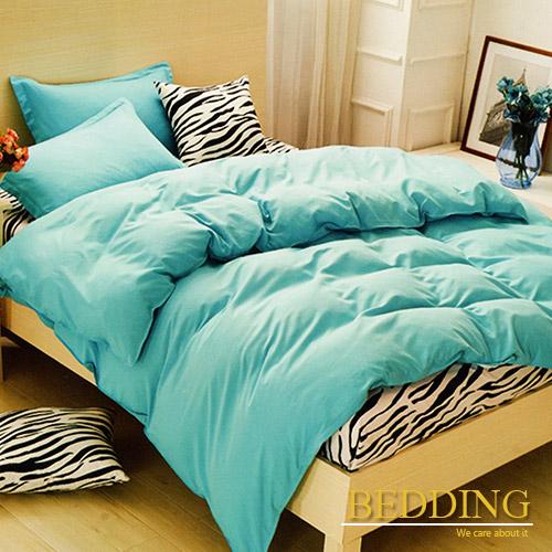 ~BEDDING~活性印染 雙人四件式薄床包舖棉兩用被套組 湖藍VS斑馬紋
