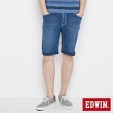 EDWIN 大尺碼 迦績褲 涼爽寬牛仔短褲-男-石洗綠