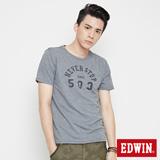 EDWIN 涼感貼袋印花短袖T恤-男-麻灰