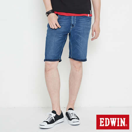 EDWIN 迦績褲 快乾合身牛仔短褲-男-石洗綠