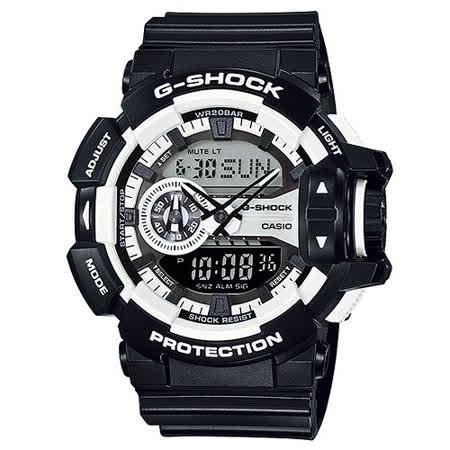 CASIO G-SHOCK 重型時尚潮流黑白運動腕錶/ GA-400-1A