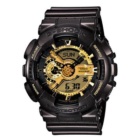 CASIO G-SHOCK 黑金狂潮運動電子時尚腕錶 -黑金/GA-110BR-5A