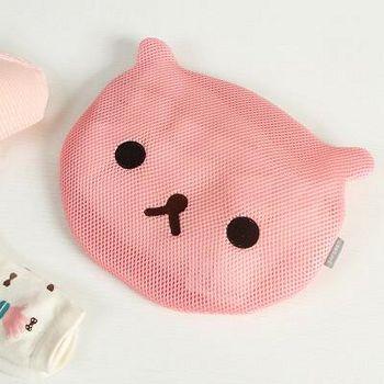 窝自在 绣花可爱动物防变形内衣裤专用加厚洗衣袋(小熊款)-粉色 (图片