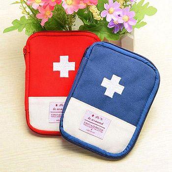 旅遊首選、旅行用品 便攜隨身急救包拉鍊收納包 迷你收納醫藥包 兩色任選