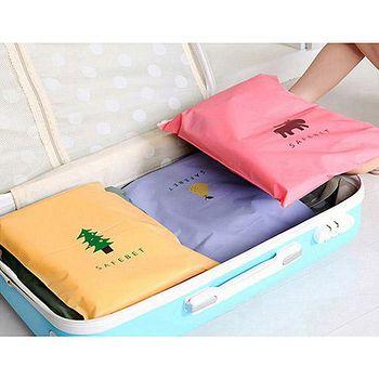 旅遊首選、旅行用品 旅行便攜繽紛圖案分類衣物實用夾鏈袋(大號) 多色任選