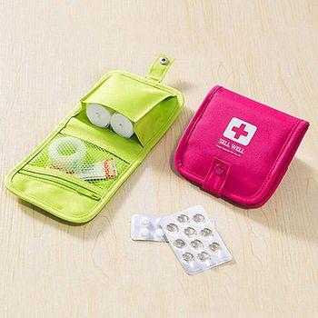 旅遊首選、旅行用品 便攜隨身急救包子母扣收納包 迷你收納醫藥包 兩色任選