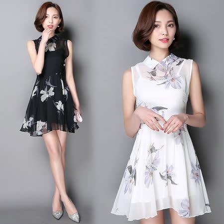 【韓國KW】古典浪漫印花雪紡修身洋裝
