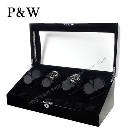 【P&W手錶自動上鍊盒】【木質鋼琴烤漆】8+8支裝 八種模式 LED燈 機械錶專用 旋轉盒