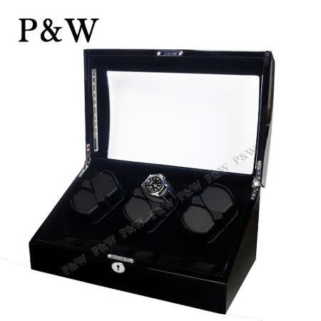 【P&W手錶自動上鍊盒】【木質鋼琴烤漆】6+6支裝 八種模式 LED燈 機械錶專用 旋轉盒