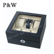 【P&W名錶收藏盒】【玻璃鏡面】 碳纖維紋 木質鋼琴烤漆 手工精品 【6只裝】錶盒