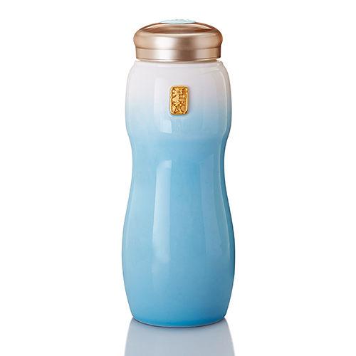 乾唐軒活瓷‧大喜悅水瓶   大 單層 鎏金 白淺水藍