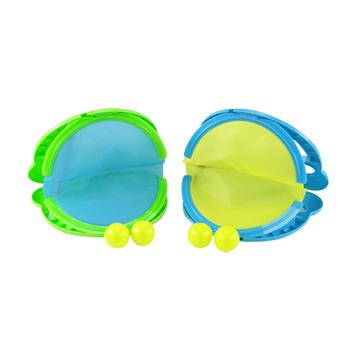 青蛙張嘴傳接球組(親子互動玩具)(1組2球拍+4顆球)