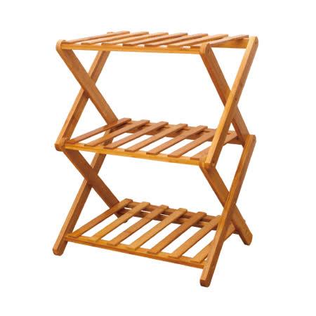 【AS】瑪雅全實木38cm折疊三層收納架/鞋架-兩入組