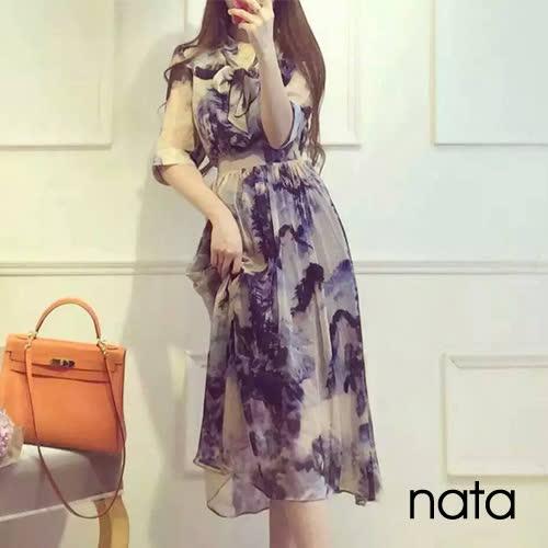 【nata】女人香水墨絲質洋裝 S-XL