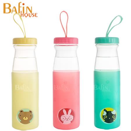 【Bafin House】Quasi 可愛動物 耐熱玻璃隨身瓶 600ml (3入組)