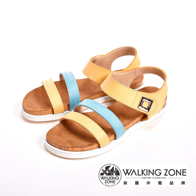 WALKING ZONE 寬版線條涼鞋女鞋~黃^( 橘^)