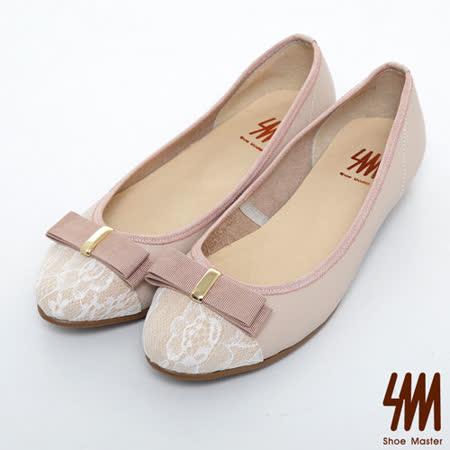SM-台灣製真皮系列-蕾絲蝴蝶結雙色娃娃鞋-粉色