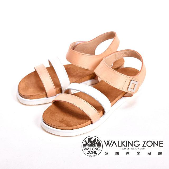 WALKING ZONE 寬版線條涼鞋女鞋~橘^( 黃^)