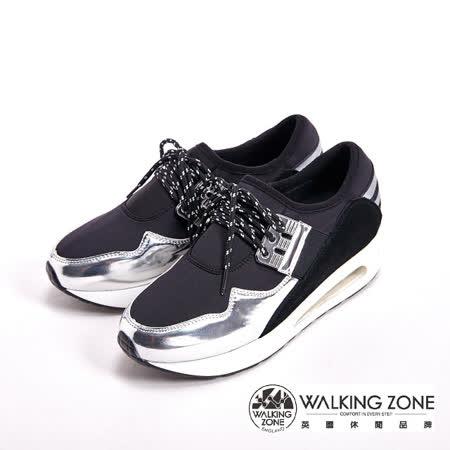 WALKING ZONE 金屬光澤耐磨綁帶戶外運動鞋 女鞋-銀(另有金)