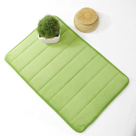 超柔軟回彈止滑地墊/強力吸水地墊/腳踏墊/浴墊/地毯-(淺綠色)58x40cm