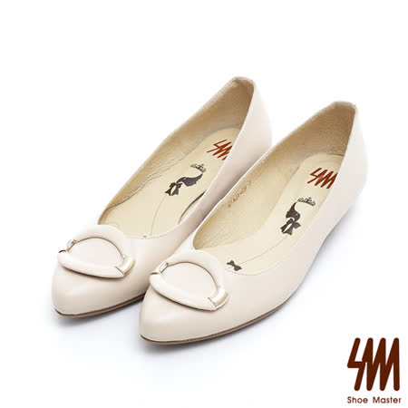 SM-台灣製真皮系列-橢圓金屬扣飾尖頭低跟鞋-杏色