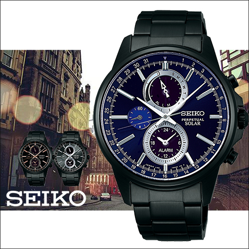 SEIKO 精工 SOLAR 渲藍太陽能時尚三眼計時腕錶-42mm/V198-0AC0P(SBPJ017J)