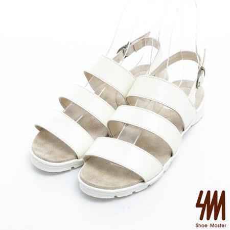 SM-台灣製真皮系列-經典三線寬帶舒適平底涼鞋-米色