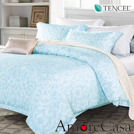 【AmoreCasa】綺幻 100%TENCEL天絲加大四件式兩用被床包組