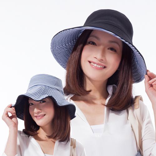 sunfamily 雙面雙色可折疊海軍風抗UV帽^(黑藍白條紋雙色^)