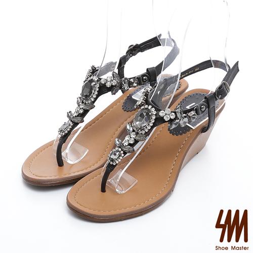 SM~ 製真皮系列~閃亮 寶石夾腳楔型中跟涼鞋~黑色