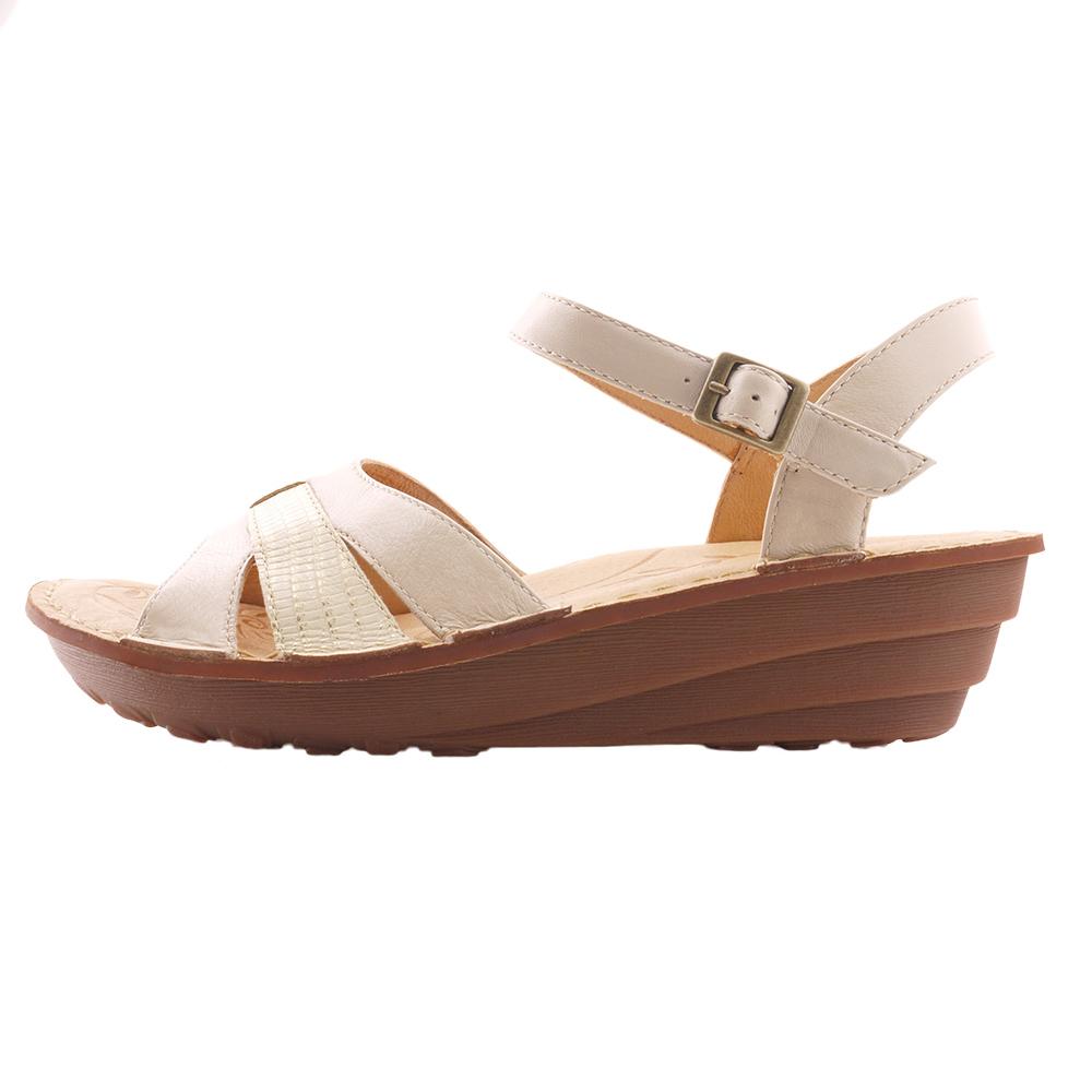 【Kimo德國品牌手工氣墊鞋】雙色雙質感厚底涼鞋(輕質米白K15SF011560)