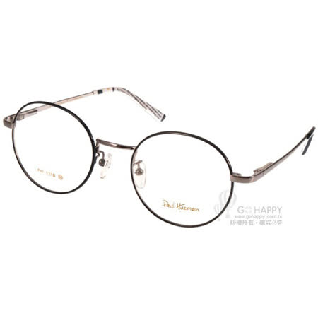 PAUL HUEMAN眼鏡 韓版學院風圓框款 (黑-槍銀) #PHF121D C05