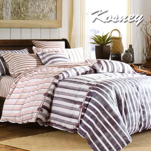 ~KOSNEY 條紋~特大精梳棉四件式兩用被床包組